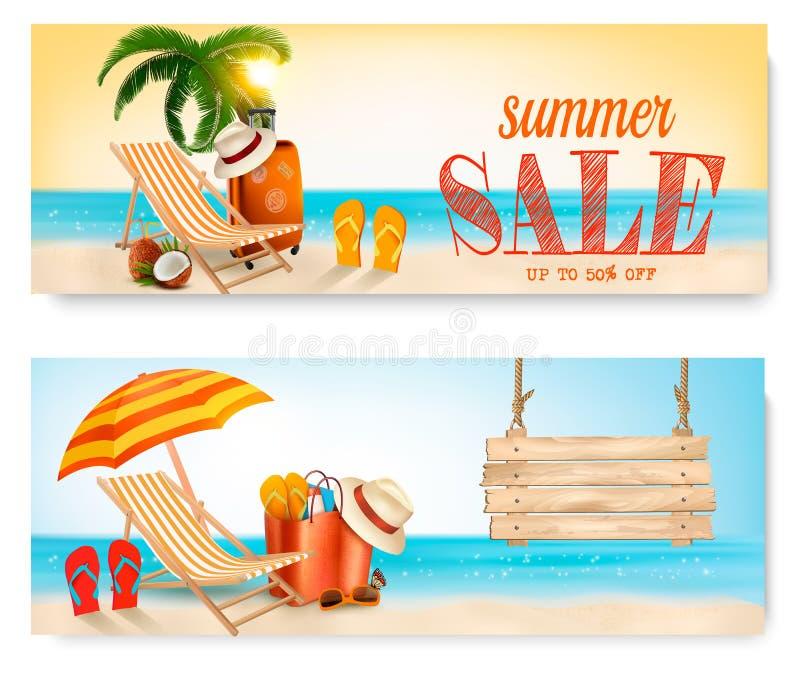 Dos banderas de la venta del verano con la silla y el océano de playa libre illustration