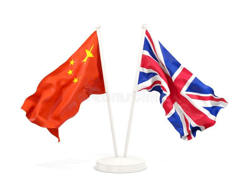 Dos banderas que agitan de China y de Reino Unido libre illustration