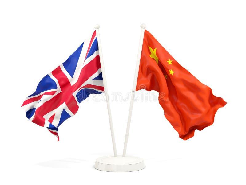 Dos banderas que agitan de Reino Unido y de China ilustración del vector