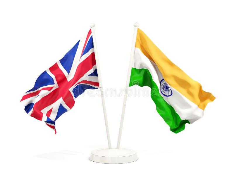Dos banderas que agitan de Reino Unido y de la India stock de ilustración