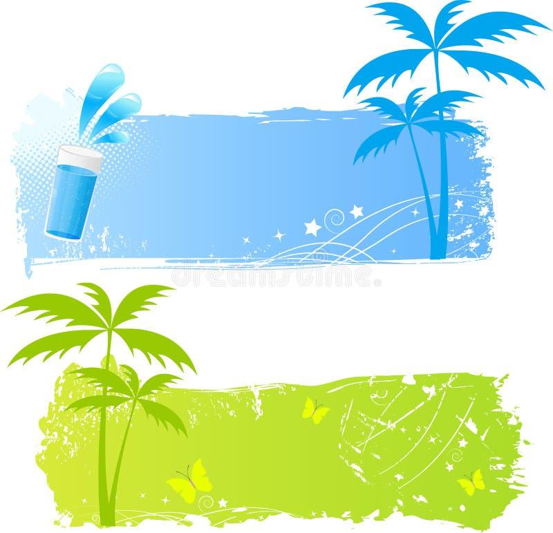 Dos banderas sucias de las palmas stock de ilustración