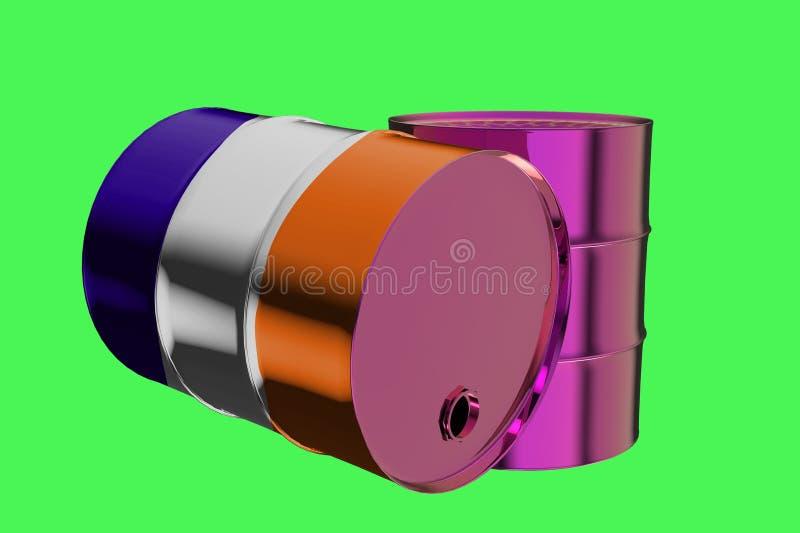 Dos barriles de aceite industriales del metal con la representación de la bandera 3D de Francia stock de ilustración