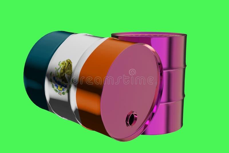 Dos barriles de aceite industriales del metal con la representación de la bandera 3D de México ilustración del vector