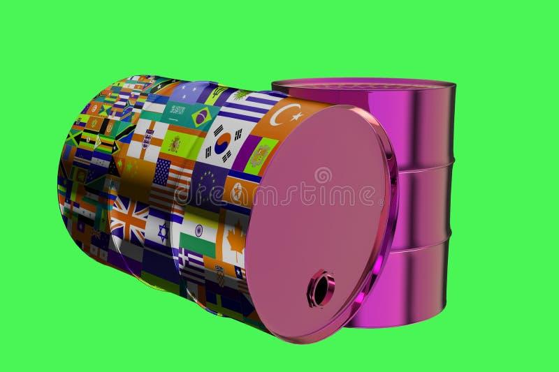 Dos barriles de aceite industriales del metal con las banderas todos los países de la representación del mundo 3D ilustración del vector
