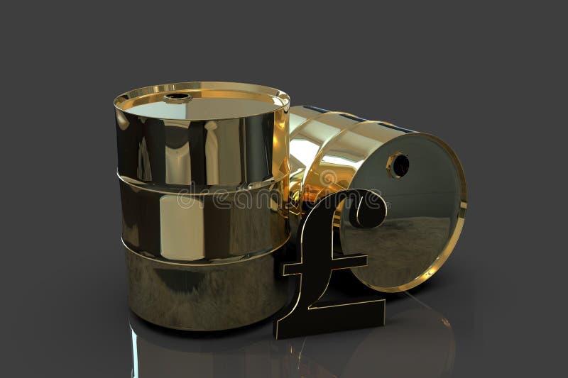 Dos barriles de aceite industriales del metal de oro con la representación de la muestra 3D de la libra ilustración del vector