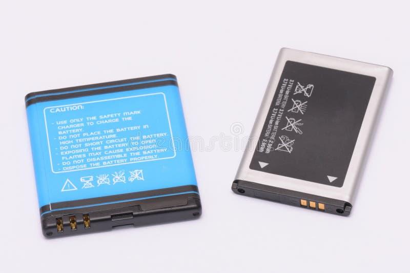 Dos baterías de ión de litio imagen de archivo