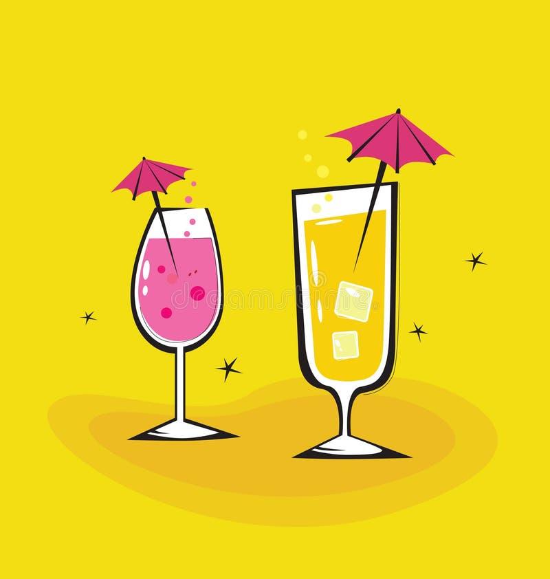 Dos bebidas retras en fondo anaranjado ilustración del vector