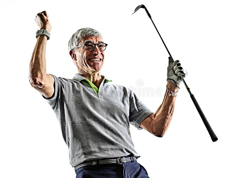 Dos blanc d'isolement par silhouette jouant au golf d'ombre de golfeur d'homme sup?rieur image libre de droits