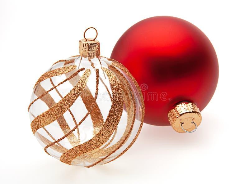Dos bolas de la Navidad fotografía de archivo libre de regalías
