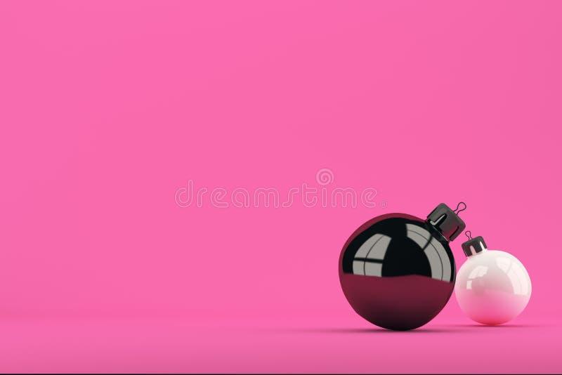 Dos bolas de la Navidad en fondo rosado brillante ilustración del vector