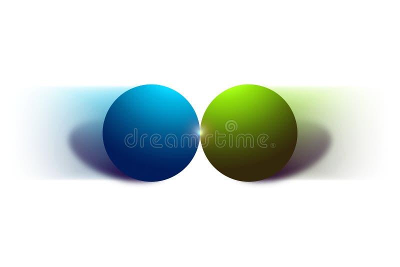 Dos bolas móviles y su colisión aisladas en el fondo blanco ilustración del vector
