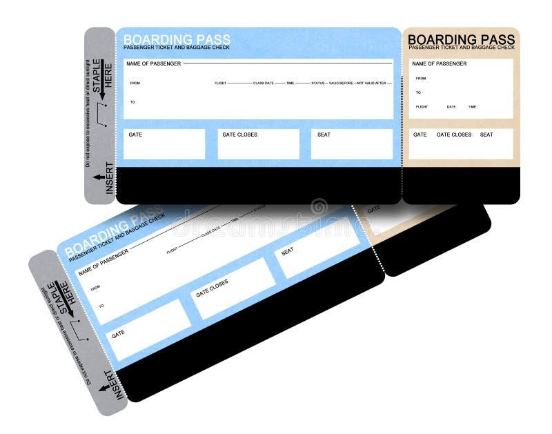 Dos boletos en blanco del documento de embarque de la línea aérea imagen de archivo libre de regalías