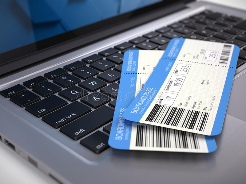Dos boletos en el teclado del ordenador portátil - boletos en línea del documento de embarque de la línea aérea que reservan conc stock de ilustración
