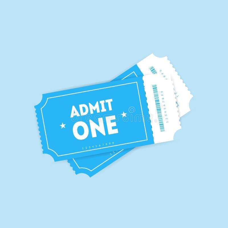 Dos boletos planos del vector con las sombras aisladas en fondo azul Los boletos del cine o de teatro diseñan con el código de ba ilustración del vector