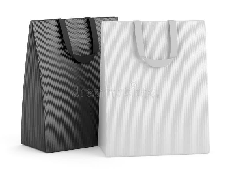 Dos bolsos de compras en blanco aislados en blanco libre illustration