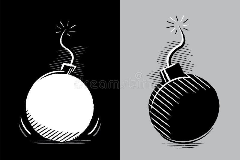 Dos bombas listas para estallar ilustración del vector
