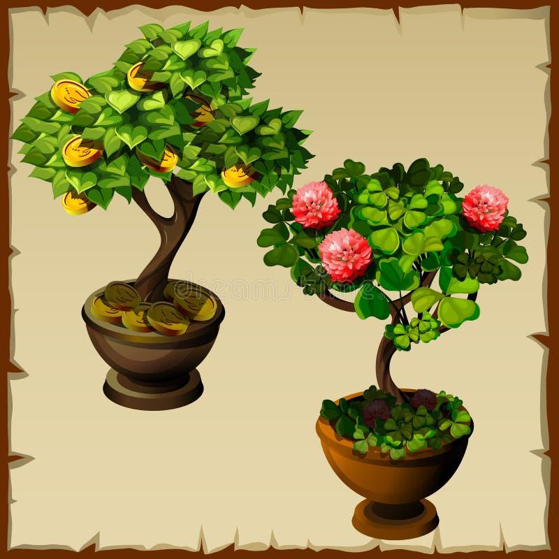 Dos bonsais de los árboles con las monedas y las flores stock de ilustración