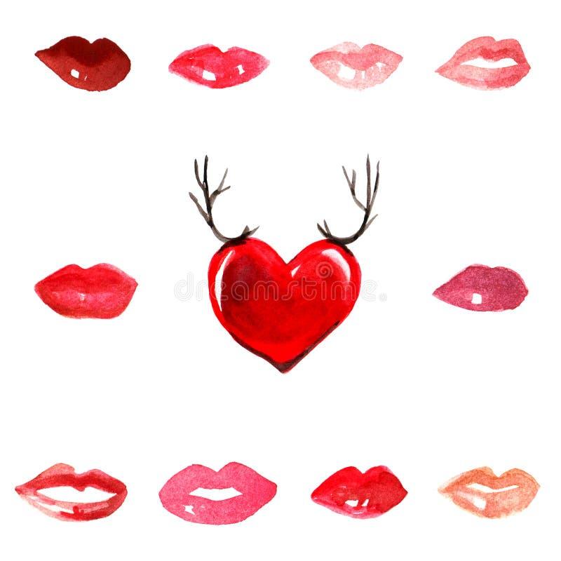 Dos bordos vermelhos do brilho do batom dos beijos escarlate vermelho da aquarela romance da forma da menina do amor da terracota ilustração stock