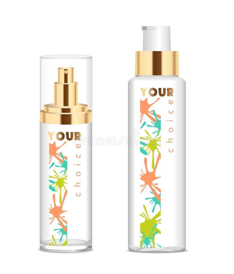 Dos botellas cosméticas transparentes stock de ilustración