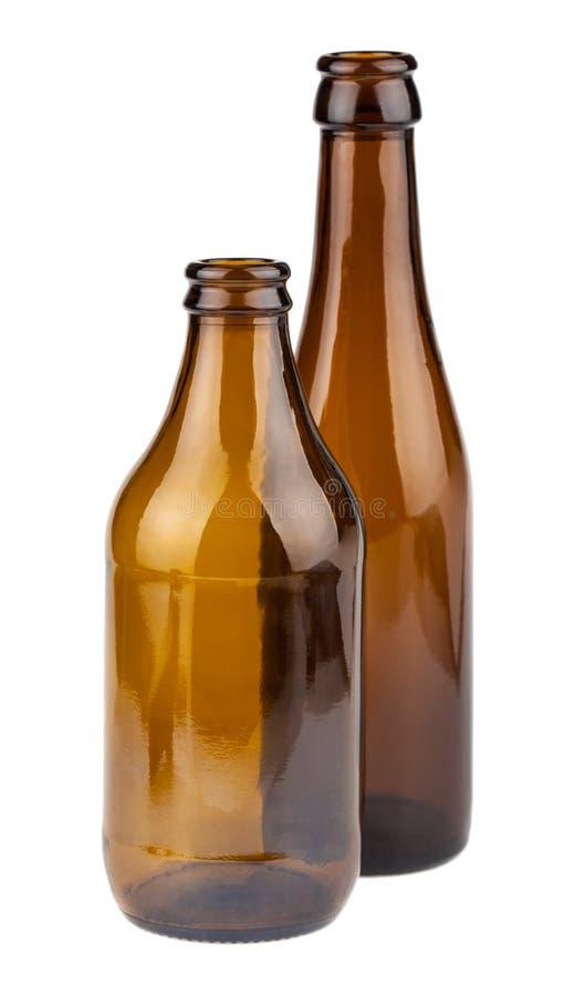 Dos botellas marrones vacías imagenes de archivo