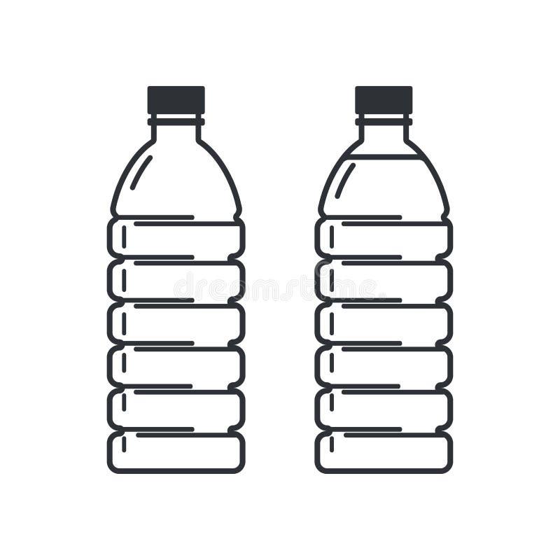 Dos botellas plásticas en un fondo blanco, vacío y lleno Iconos planos del estilo libre illustration