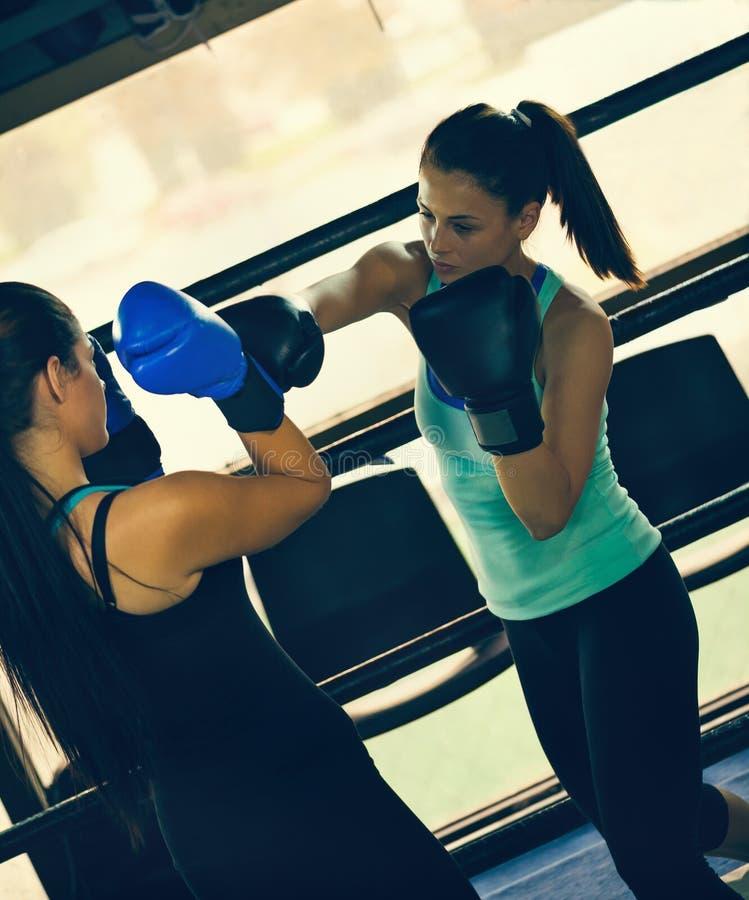 Dos boxeadores de sexo femenino en el entrenamiento imágenes de archivo libres de regalías