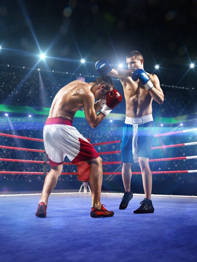 Dos boxeadores del professionl están luchando en arena fotos de archivo libres de regalías