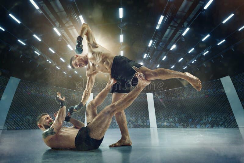 Dos boxeadores profesionales que encajonan en el anillo fotografía de archivo