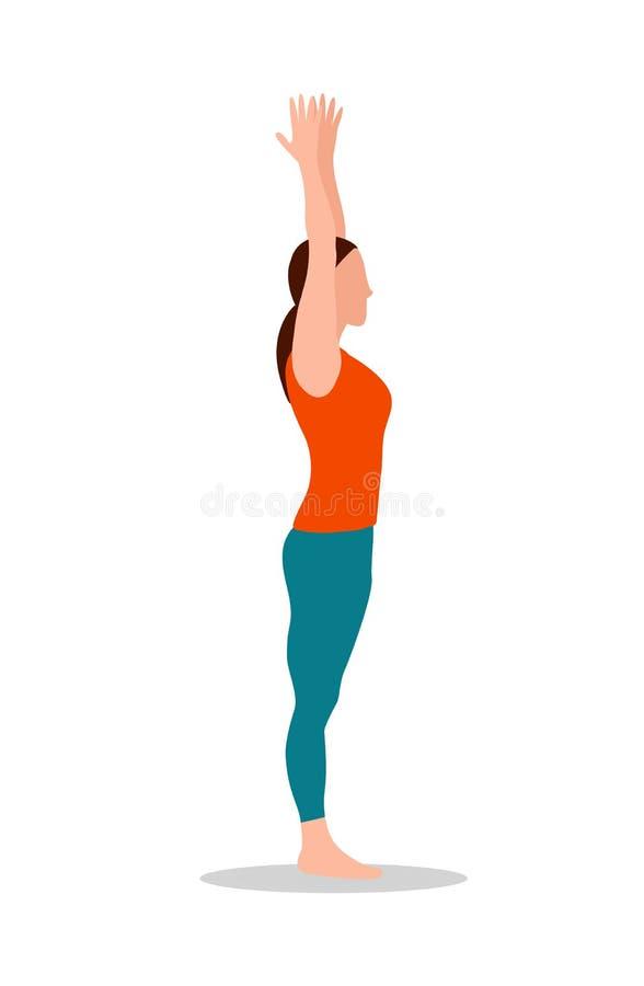 Dos braços pose acima da ilustração ereta do vetor da ioga ilustração do vetor