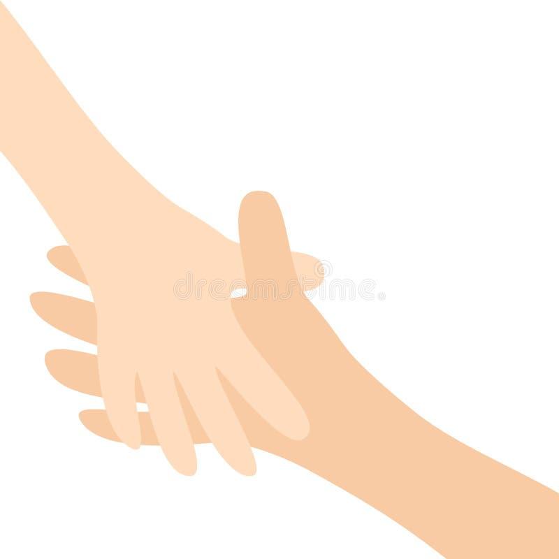 Dos brazos de manos que alcanzan el uno al otro Apretón de manos Pares felices Madre y niño Mano amiga Ciérrese encima de la part ilustración del vector