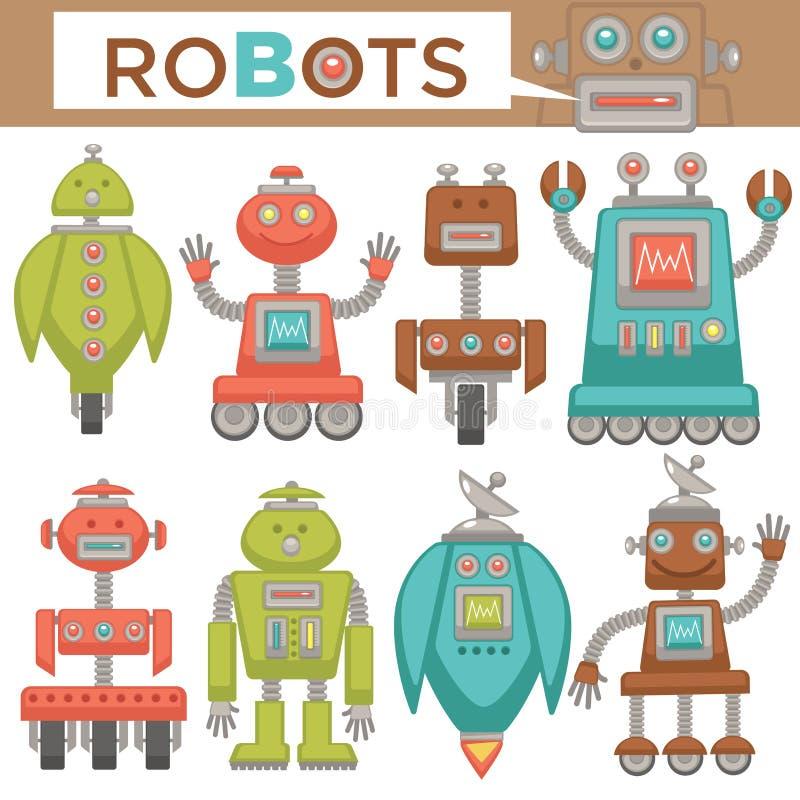 Dos brinquedos retros dos desenhos animados dos robôs e dos transformadores ícones lisos ajustados ilustração royalty free