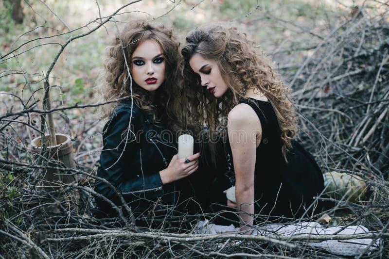 Dos brujas del vintage recolectaron la víspera de Halloween fotos de archivo
