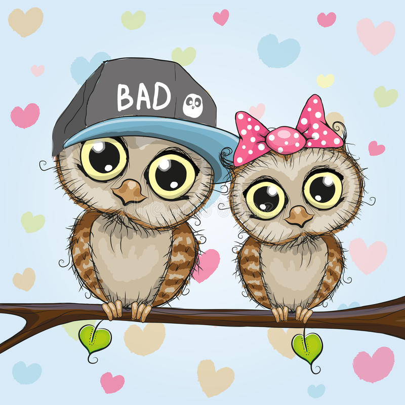 Dos buhos lindos libre illustration