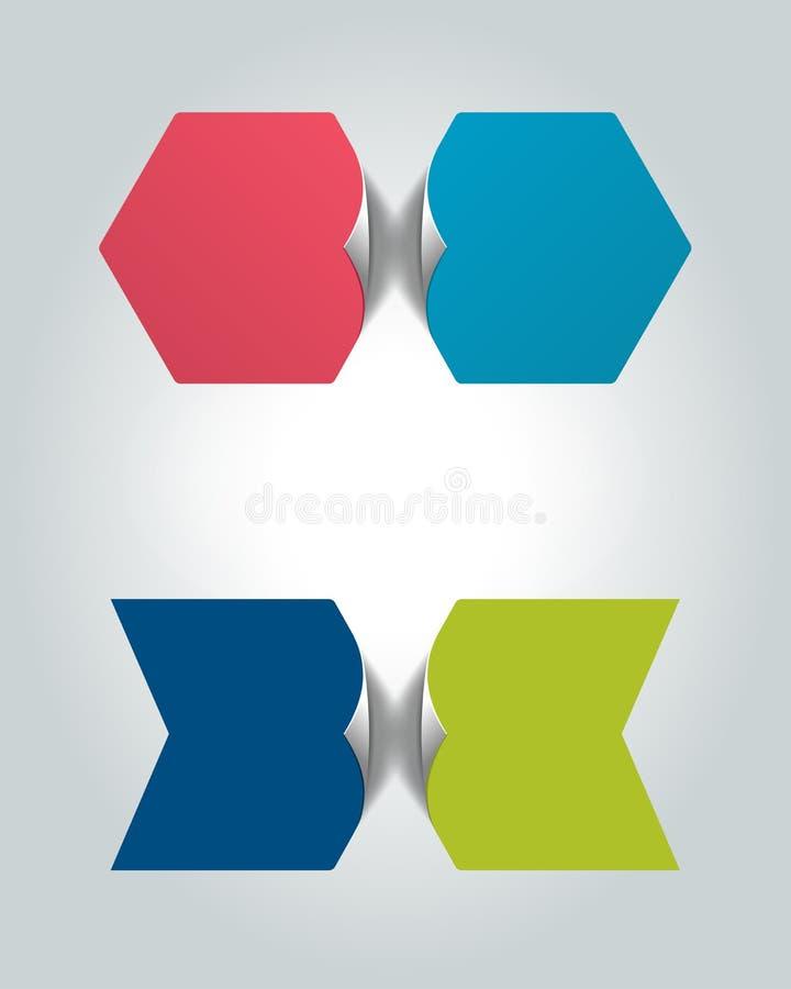 Dos burbujas relacionadas del infographics 2 pasos diseñan, trazan, opción infographic, gradual del número, disposición, bandera  stock de ilustración