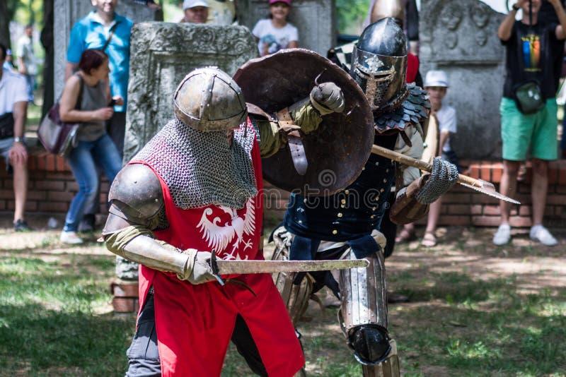 Dos caballeros medievales que luchan con el arma dura en armadura en naturaleza imagen de archivo