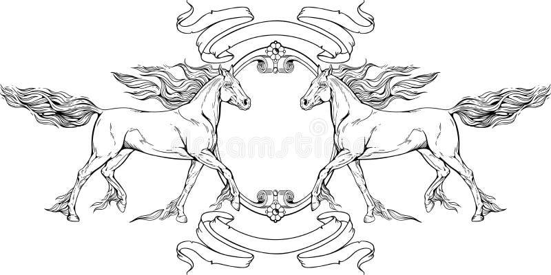 Dos Caballos, Marcos Y Cintas Ilustración del Vector - Ilustración ...
