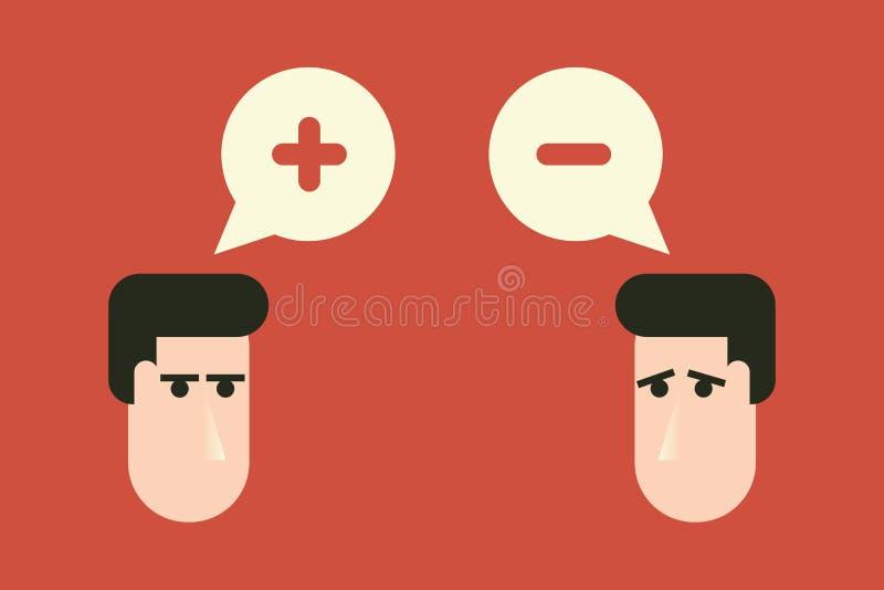 Dos cabezas con los signos de menos más y Pensamiento, contrastes, polaridad y concepto positivos y negativos de la oposición Dis stock de ilustración