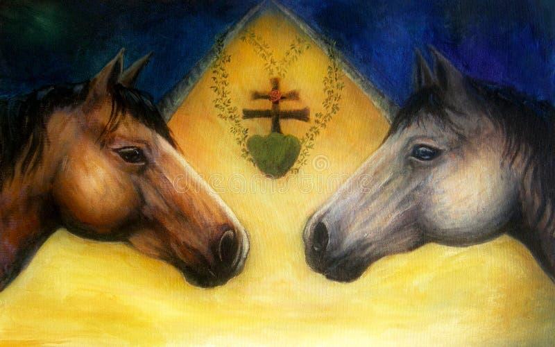 Dos cabezas de caballo, pintura al óleo detallada hermosa en lona stock de ilustración