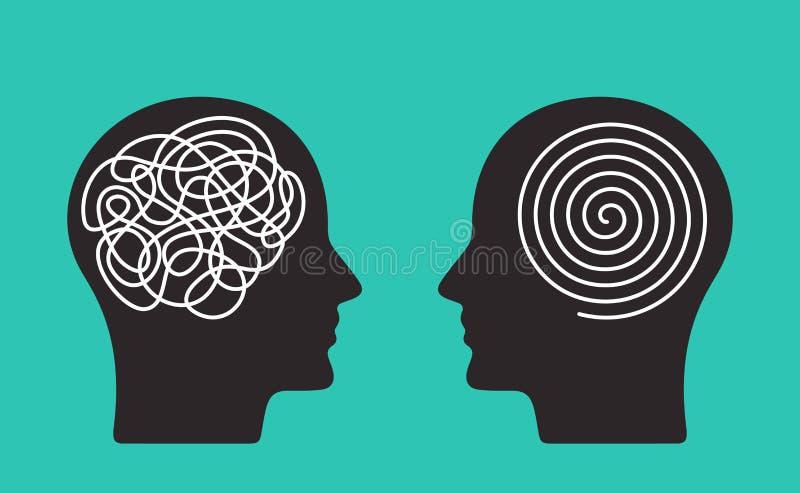 Dos cabezas de una persona con el modo de pensar opuesto concepto de caos y de orden en pensamientos Ejemplo plano del vector ais ilustración del vector