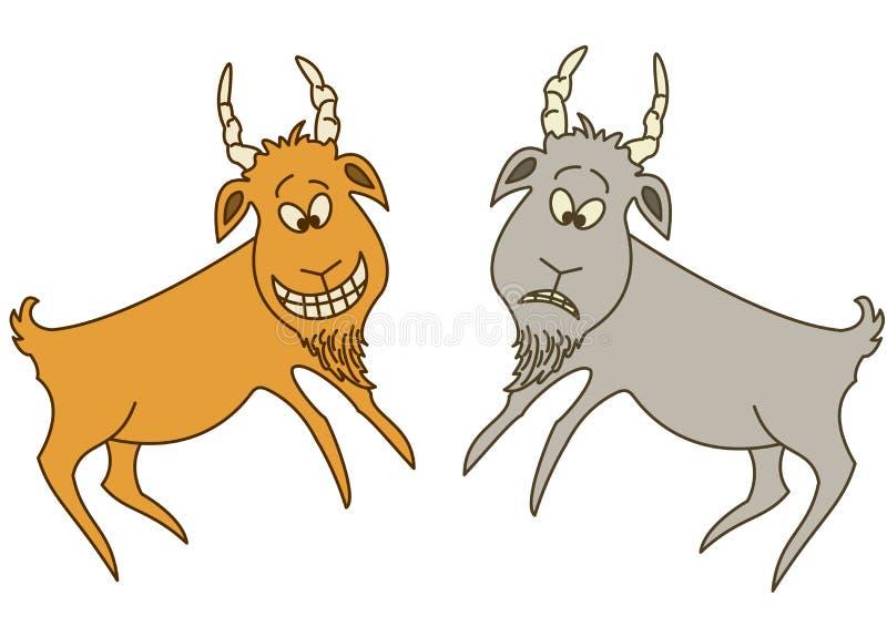 Dos cabras: alegre y triste libre illustration