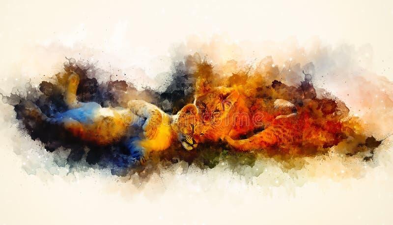 Dos cachorros de león lindos que juegan el fondo junto y suavemente borroso de la acuarela libre illustration
