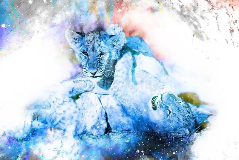 Dos cachorros de león lindos que juegan junto en espacio cósmico stock de ilustración