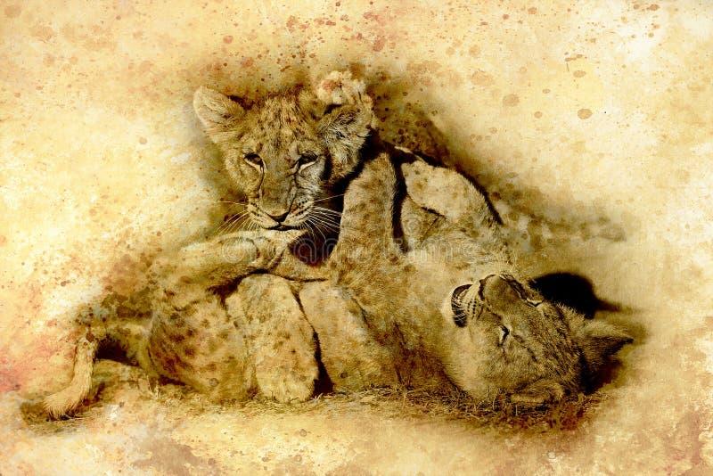 Dos cachorros de león lindos que juegan junto, gráfico y efecto de la sepia stock de ilustración