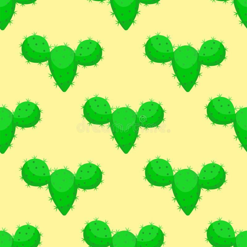 Dos cactos sem emenda suculentos mexicanos do teste padrão da planta tropical do verde da flor do deserto da natureza do cacto il ilustração do vetor