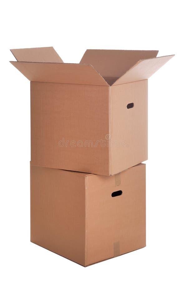 Dos cajas de cartón aislaron foto de archivo libre de regalías