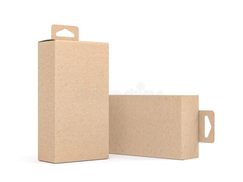 Dos cajas de cartón de Kraft con la maqueta de empaquetado de Hang Tab ilustración del vector