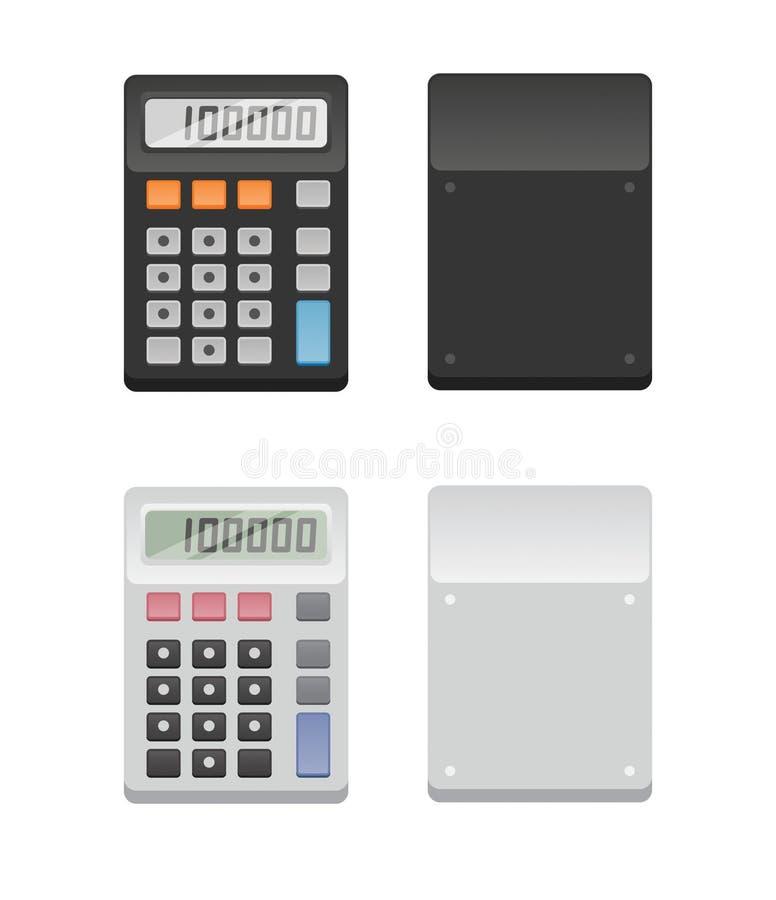 Dos calculadoras - frente y parte posterior stock de ilustración