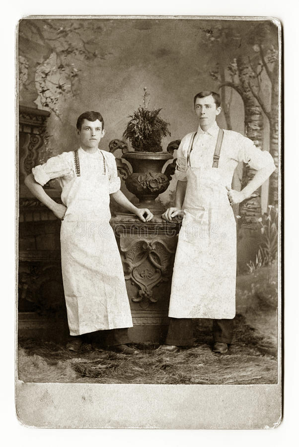 Dos camareros o panaderos imagenes de archivo