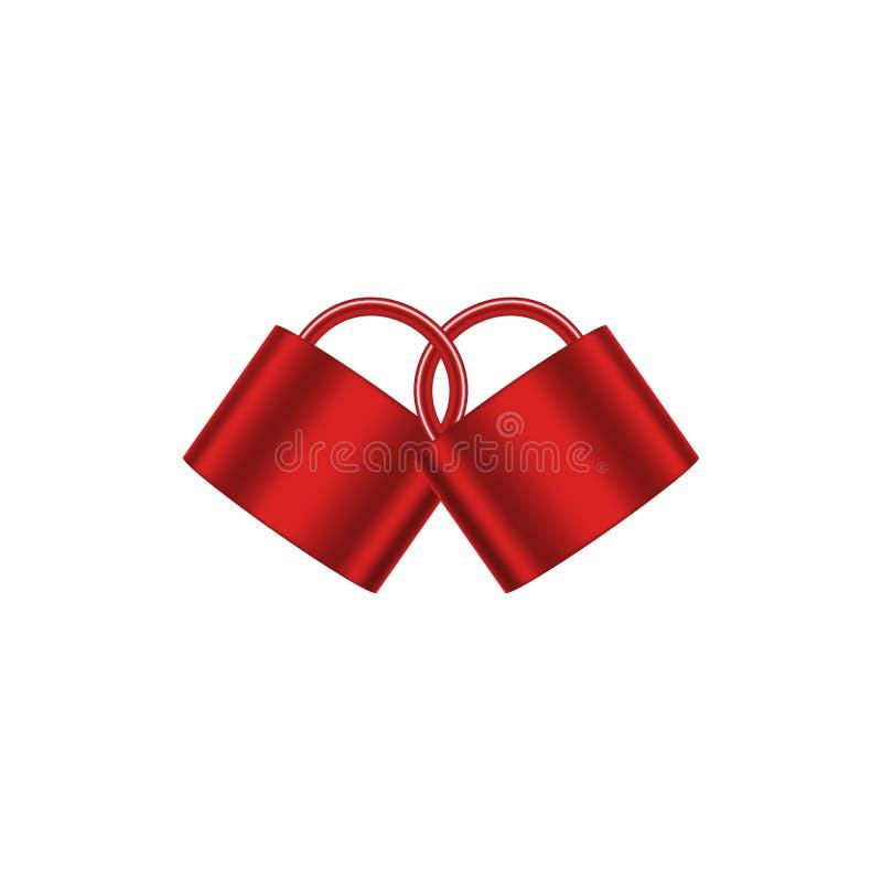 Dos candados conectados en diseño rojo stock de ilustración