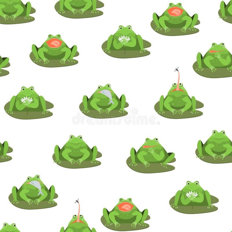 Dos caráteres bonitos das rãs verdes dos desenhos animados fundo sem emenda do teste padrão Vetor ilustração royalty free